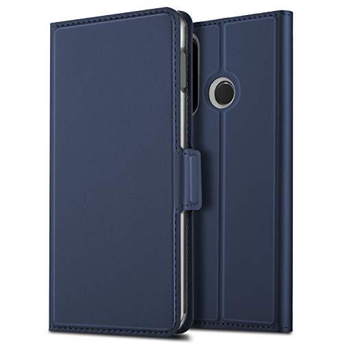 れんがクレーン水Huawei P30 Lite ケース 手帳型 OURJOY ファーウェイ p30 Lite ケース 財布型 サイドマグネット式 カード収納 スタンド機能 高級PUレザー 耐衝撃 p30lite ケース 手帳 カバー 全面保護 耐摩擦 人気 おしゃれ(ブルー)