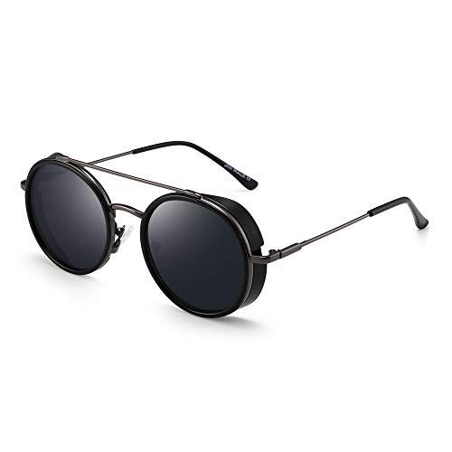 Large Sunglasses Round (JIM HALO Retro Round Steampunk Sunglasses for Women Men Circle Lens Metal Frame (Shiny Black Frame/Grey Lens))
