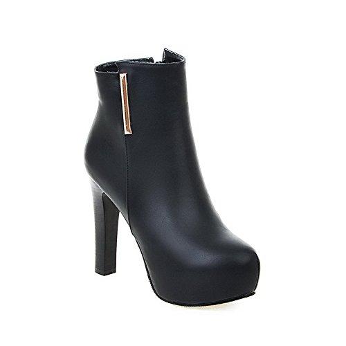 AgooLar Frauen Runde Low High geschlossene Top Zehe Heels Schwarz Stiefel Zipper Solide rarqUAnw7