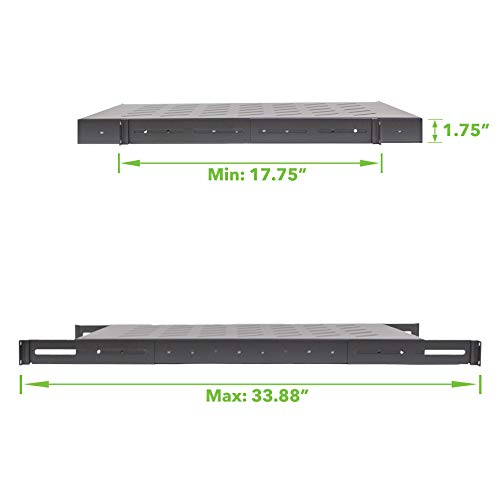 Remarkable Navepoint 1U 19 Inch Fixed 4 Post Rack Mount Server Shelf With Adjustable Depth From 18 34 Inch Black Home Interior And Landscaping Dextoversignezvosmurscom