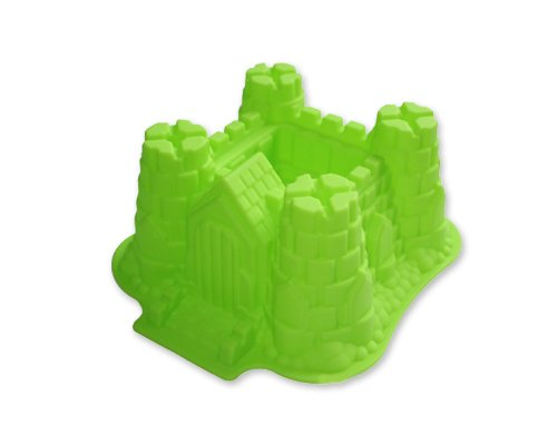 10.6 inch x 9.5 inch Non-stick 3D Castle Christmas Party Accessory Silicone DIY Bundt Cake Birthday Wedding Cake Fondant Fluted Pan Bread Pizza Baking Cake Pan Mold/ Mould - Green