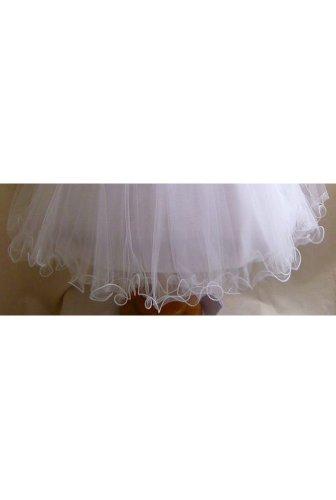 Classykidzshop Ivory Sleeveless Poly Satin Tea-Length Special Occasion Dress - 6T Ivory/Silver