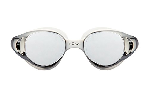 ROKA X1 Anti-Fog Low-Drag Large Mirror Swim Goggles for Men and Women - - Goggles Arctic