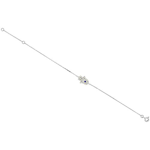 Sterling Silver Cubic Zirconia Hamsa Charm Bracelet, 7 inches long + 1 in extension