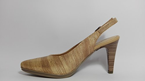 Desiree-Zapatos de salon destalonados en piel grabada-marron y dorado