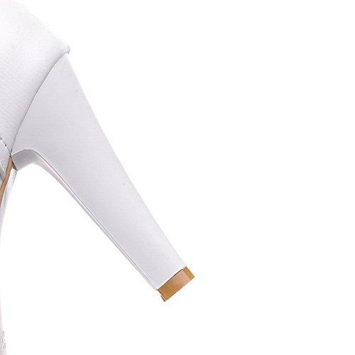 AllhqFashion Damen Hoch-Spitze Rein Rund Zehe Hoher Absatz Stiefel mit Metallisch Weiß