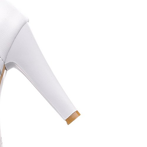 Allhqfashion top Women's High High White Closed Toe Heels Round Zipper Solid Boots rFrx8Ew