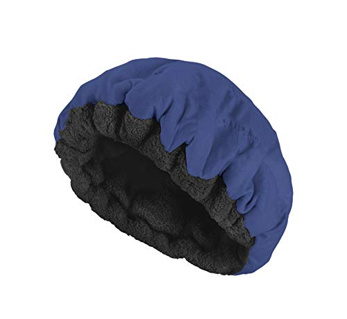 Thermal Conditioning Treatment - Deep Conditioning Thermal Heat Cap- Cordless, Microwavable Heat Cap for Steaming, Heat Therapy for Hair, Portable, Reversible by Glow by Daye (Navy/Black)