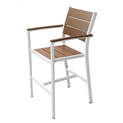 Renovoo Aluminum Stack Counter Hgt Bar Stool with Arms, Pack of 2, Teak Color Plastic Seat and Back Slats with Woodgrain, White Powder Coated Aluminum Frame, 24 inches Seat Height, Outdoor Patio Use