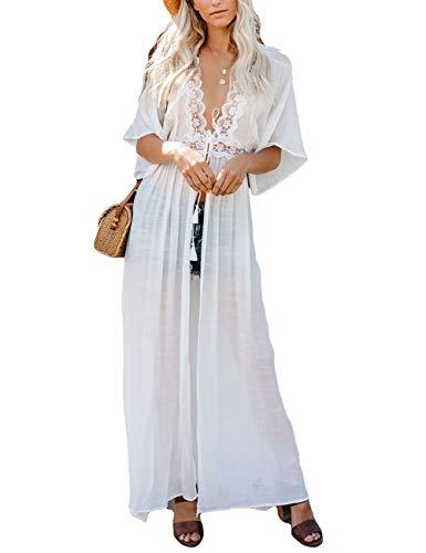 (Bsubseach White Swimwear Half Sleeve Beach Kimono Cardigan with Belt Open Front Bikini Swimsuit Cover Ups)