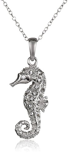 Seahorse Jewelry - Sterling Silver White Swarovski Crystal Crystal Seahorse Pendant Necklace, 18
