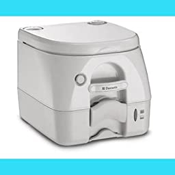 Dometic 301097402 Portable Toilet w/ Stainless Steel Hold-Down Brackets, Tan