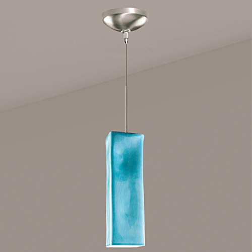 - A19 Magma Mini Pendant, 3.5-Inch Width by 11-Inch Height, Teal Crackle