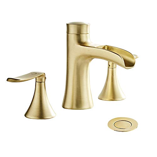 Wovier Brushed Gold 8-16 Inch Widespread Waterfall Bathroom Sink Faucet,Two Handle Three Hole Lavatory Faucet,Basin Mixer Tap With Pop Up Drain