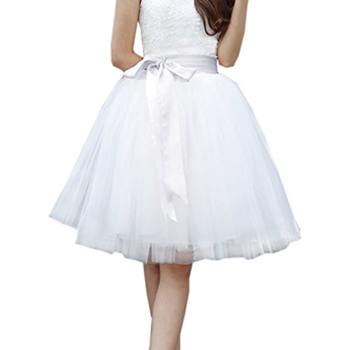 Lisong Women Knee Length Bowknot Layered Tulle Party Prom Skirt 6 US White-Bow
