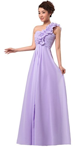Drasawee Kleid Fliederfarben Grau One Damen Shoulder tqRwrtv