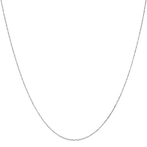 Solid 10k White Gold 0.8mm Rope Chain (20 inch)