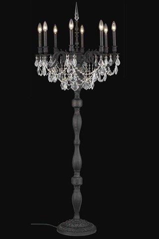 Elegant Lighting 9208FL24DB/SS Rosalia Collection 8-Light Floor Lamp with Swarovski Strass/Elements Crystals, Dark Bronze Finish ()