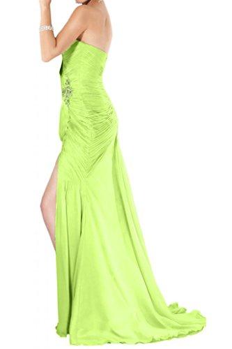 Ranura en forma de corazón de la Toscana totalmente de la novia vestidos de noche encantadora de largo la gasa vestido de fiesta vestidos de bola Prom Verde