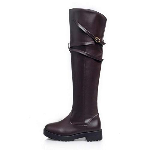 Thick Buckle Thigh Ladies Boots Winter Heel High Shoes Fashion Haoliequan Marrón 34 Women Metal Long Size 43 fxSnABwzw