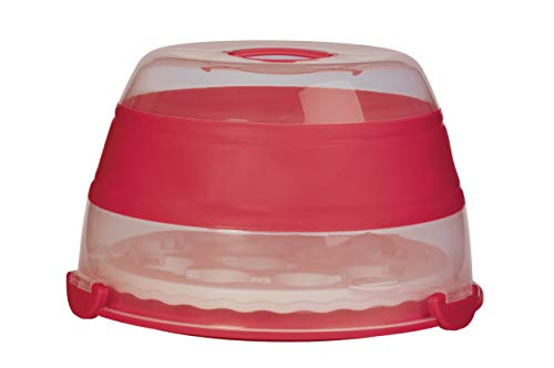 Prepworks by Progressive Collapsible Cupcake and Cake Carrier, 24 Cupcakes, 2 Layer, Easy to Transport of Muffins, Cookies or Dessert to Parties - Red -