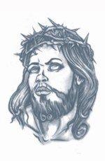 Tinsley Transfers Jesus Prison Temporary FX Tattoo, Black/White