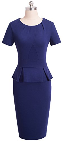 Neck Azul Length Ruffle Pleated Sleeve Vintage Short Office Dress Round With Knee Women's Homeyee B438 Oscuro wqPpvg6tv