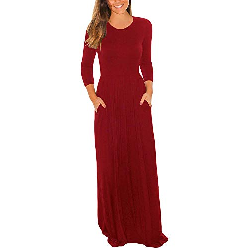 Loose Party Dress for Women O Neck Casual Short Sleeve Floor Length Dress with Pocket ...