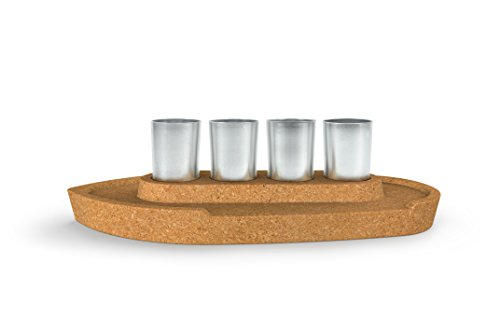 Fred 5232902 Party Boat Shot Glass Flight Serving Set, One Size, Silver