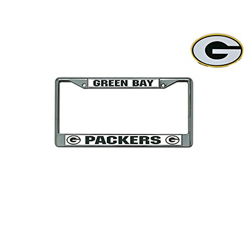 (Rico Official National Football League Fan Shop Licensed NFL Shop Authentic Chrome License Plate Frame and Colored Auto Emblem (Green Bay)