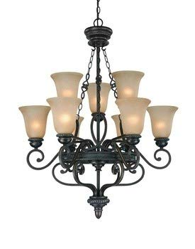 - Craftmade Lighting 25229-MB Highland Place - Nine Light Chandelier, Mocha Bronze Finish