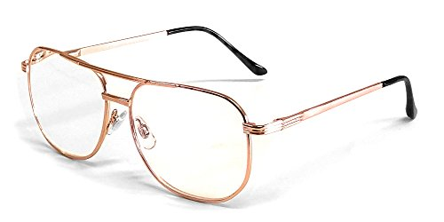 Calabria 1106 Metal Aviator Reading Glasses in Gold ; - Frame Large Men Glasses