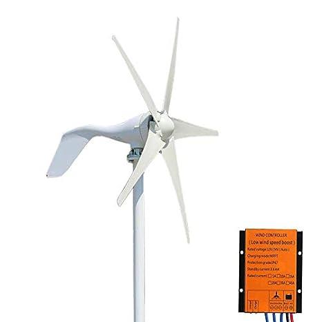 FLTXNY POWER Generador de Turbina de Viento, 400W 24V Turbina de Viento Ajustable con 5 Palas Velocidad Nominal del Viento de 13 m/s Aerogenerador con Generador de AC
