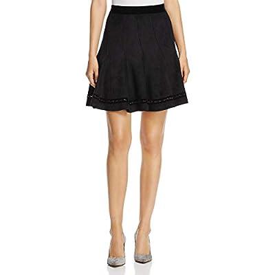 T Tahari Womens Carlisle Faux-Suede Flare Skirt