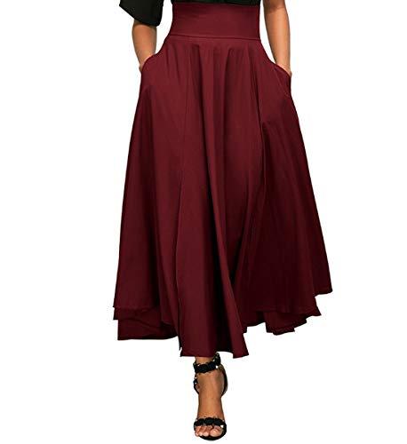 lgante Vintage Casual Maxi Xsayjia Taille Longue Poches avec Plisse Femme Wine Red Haute Jupe Jupe ag0t0I