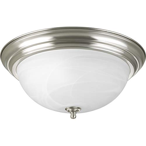 Progress Lighting P3926-09 3-Light Flushmount, Brushed Nickel 09 Brushed Nickel Track