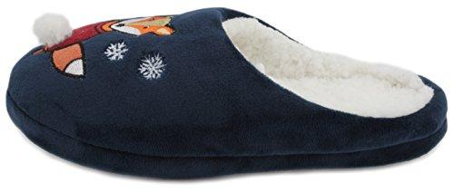 SlumberzzZ–peluche Festive Fun Novelty Mule Slipper azul marino
