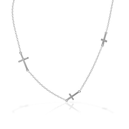 925 Sterling Silver Classic Triple Three Cross Religious Chain Necklace
