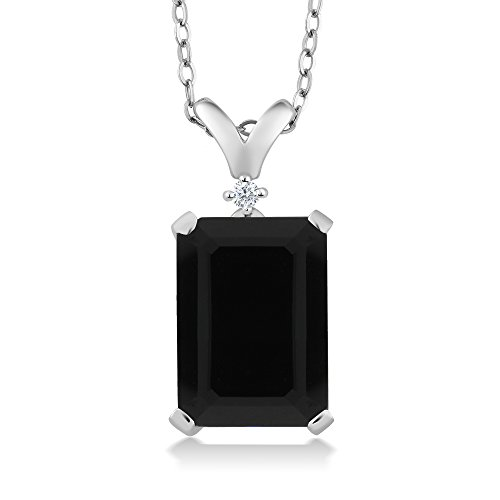 Cut Black Onyx (5.02 Ct Emerald Cut Black Onyx & White Diamond 925 Sterling Silver Pendant With 18 inch Silver Chain)