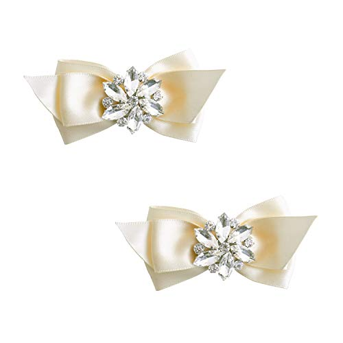 ElegantPark CQ Women Bow Shoe Clips Rhinestones Decorative Jewelry Wedding Party Accessories Decoration Ivory 2 Pcs ()