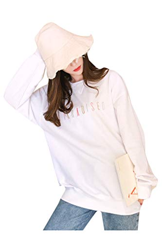 Longue Blanc tel Manches Lettre Tops Sweatershirt Femmes C Broderie Cvwag5x