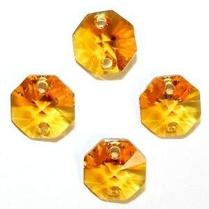 (Steven_store SCOXL145 Topaz Orange 14mm Faceted 2-Hole Octagon Link Swarovski Crystal Bead 6p Making Beading Beaded Necklaces Yoga Bracelets )