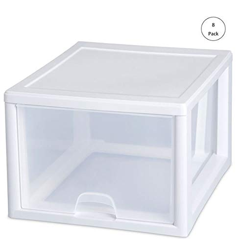 Sterilite 2310 27-Quart Single Stacking Drawer, Clear (8 Pack)