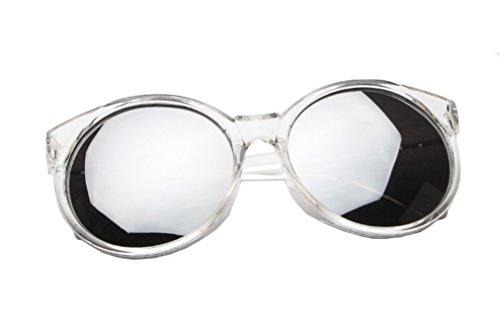Chezi Women's Plastic Full Frame Iridium Mirrored Circle Lens Round Sunglasses (clear+silver lens, 0)