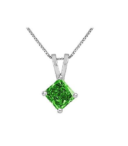 Green Diamond Solitaire (PARIKHS Princess Cut Green Diamond Solitaire Pendant AAA Quality in White Gold (0.05)