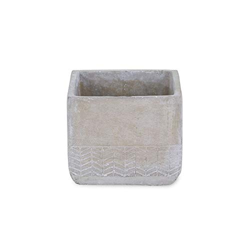 6″ Gray Handcrafted Square Planter with Arrow Design