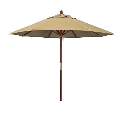 california umbrella 9 round hardwood frame market umbrella stainless steel hardware push open champagne olefin