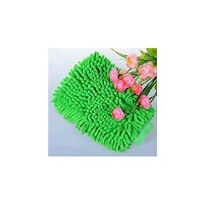 Ocamo Chenille Microfiber Car Kitchen Household Wash Washing Cleaning Glove Mit Green 1 pcs