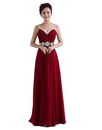 Ausschnitt Spalte Kleider Burgund Prom lange Kmformals Kleid Chiffon V Damen Brautjungfer OZBEwT