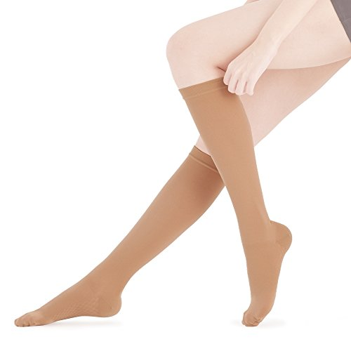 Fytto 2020 Closed-Toe Compression Socks, Breathable Microfiber, 15-20 mmHg Graduated Support – Discreet Medical Hosiery for Professionals, Relieves Swelling & Alleviates Varicose Veins, Tan, Medium